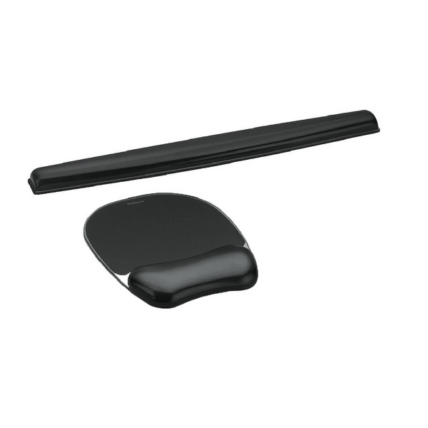 Fellowes Crystal Keyboard Wrist Rest Black 9112201 With Crystal Mouse Pad Black 9112101