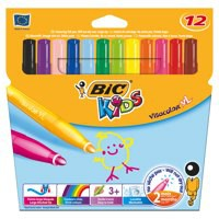 Bic Kids Visa XL Felt Tip Pens Assorted Colours Pack 12 829007