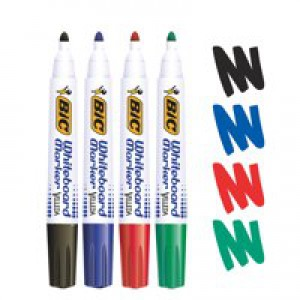 Bic Velleda Whiteboard Marker Bullet Tip Assorted Wallet of 4 017040