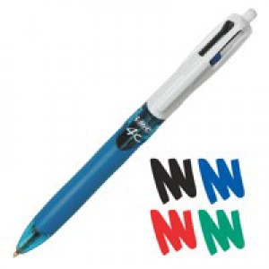 Bic 4-Colour Retractable Ball point Pen Blue/Black/Red/Green 801867