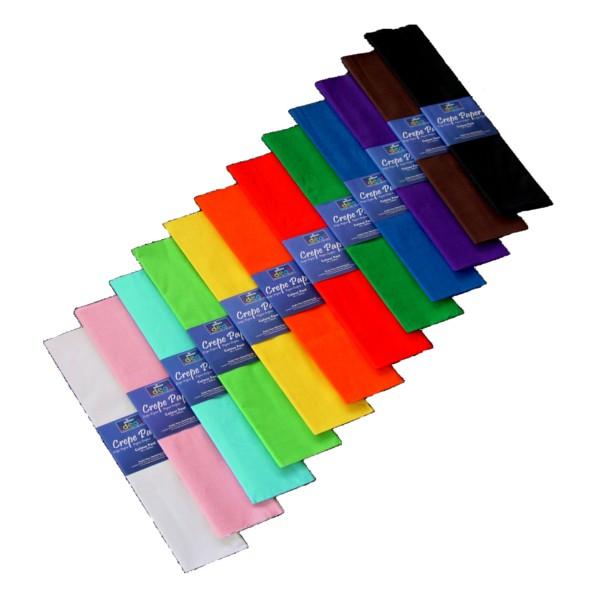 Bright Ideas Crepe Paper 500mm x 3m Assorted Pk 12 BI0568