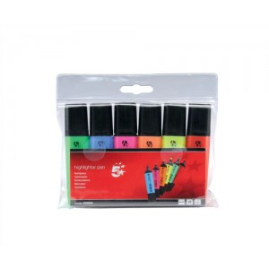 Highlighter Chisel Tip 1-4mm Line Assorted [Pk 6]