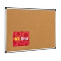 Bi-Office Cork Notice Board Aluminium Frame Natural Pack 1