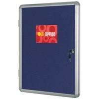 Bi-Office Lockable Internal Display Case 900x600mm Blue Felt Aluminium Frame VT630107150