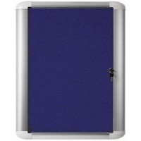 Bi-Office External Display Case 600x450mm Blue Felt Aluminium Frame VT610107230