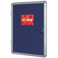 Bi-Office Lockable Internal Display Case 1200x900mm Blue Felt Aluminium Frame VT640107150