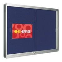 Bi-Office Lockable Glazed Display Case 890x625mm 8xA4 sheets Blue Felt Aluminium Frame VT690107160