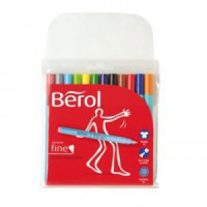 Berol Colourfine Pen Assorted Water Based Ink Wallet of 12 CF12W12 S0376340