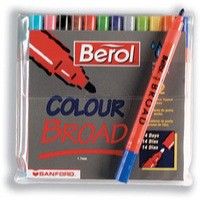 Berol Colourbroad Pen Assorted Water Based Ink Wallet of 24 S0376010