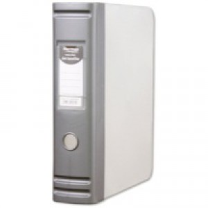 Hermes HD 80mm Polypropylene Box File A4 2D-Ring Silver 8.BA4.006
