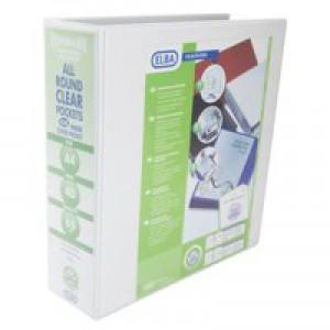 Elba Panorama Presentation Binder A4 4D-Ring 65mm White Pk4 400008673
