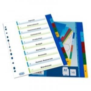 Elba A4 Colour Polypropylene Divider 10-Part Assorted 100205063