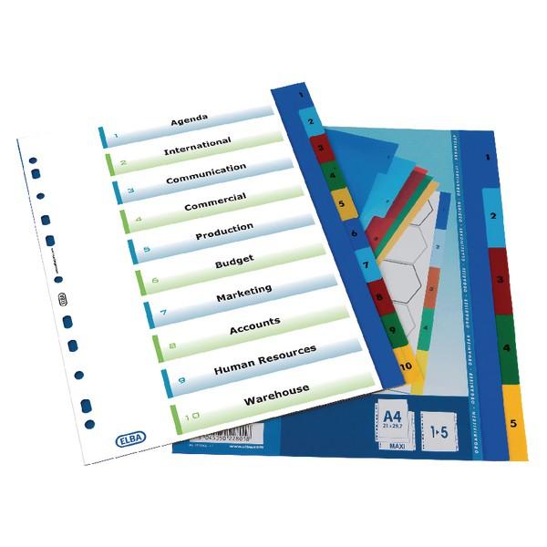Elba Polypropylene Index Europunched A4 1-5 White Ref 100204803