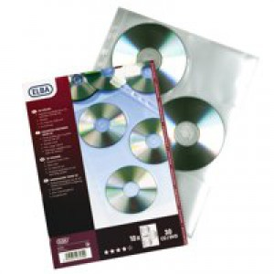 Elba CD/DVD Pocket Pack of 10 Clear 100206995