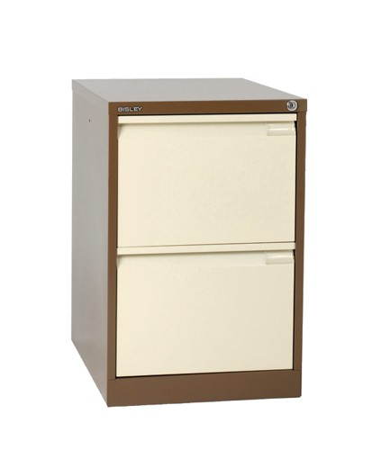 Bisley 2 Drawer Filing Cabinet Lockable Coffee/Cream Flush Fronted BS2E