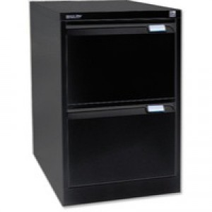 Bisley 2-Drawer Filing Cabinet Lockable Black Flush Fronted BS2E