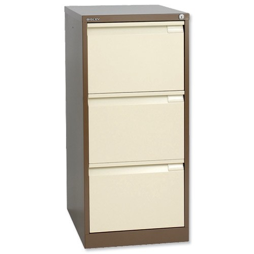 Bisley 3 Drawer Filing Cabinet Lockable Coffee/Cream Flush Fronted BS3E