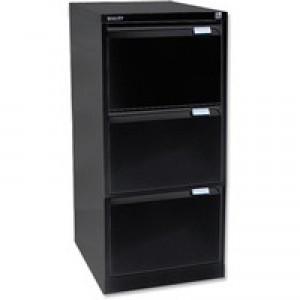 Bisley 3-Drawer Filing Cabinet Lockable Black Flush Fronted BS3E