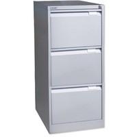 Bisley 3-Drawer Filing Cabinet Lockable Goose Grey Flush Fronted BS3E