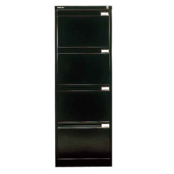 Bisley 4-Drawer Filing Cabinet Lockable Black Flush Fronted BS4E