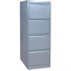 Bisley 4-Drawer Filing Cabinet Lockable Goose Grey Flush Fronted BS4E