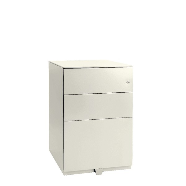 Bisley Pedestal Mobile 2 Stationery 1 Filing Drawer Chalk White
