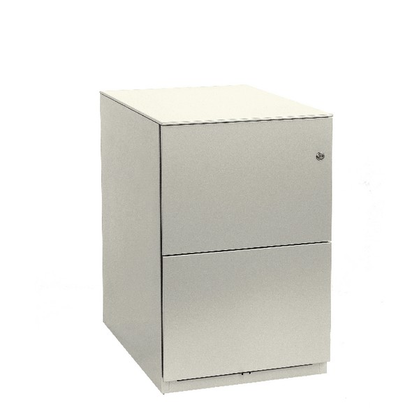 Bisley Slim Mobile Pedestal 2 Filing Drawers Chalk White