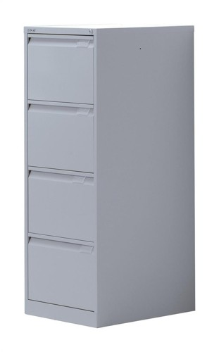 Bisley 4 Drawer Filing Cabinet Lockable Silver Flush Fronted BS4E