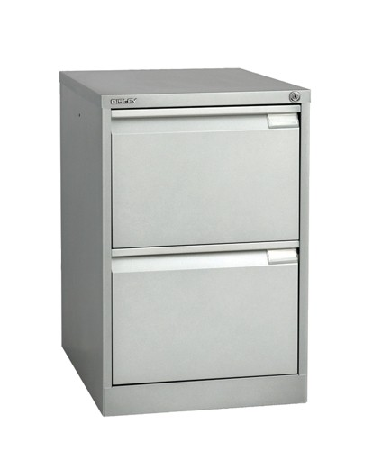 Bisley 2 Drawer Filing Cabinet Lockable Silver Flush Fronted BS2E