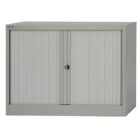 Bisley Side-Opening Tambour Cupboard 1000x470x711mm Goose Grey Ready Assembled AST28ASS/GG