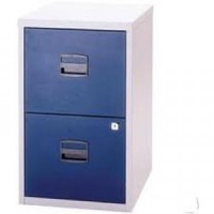 Bisley A4 Homefiler 2 Drawer Lockable Grey/Blue PFA2-8748