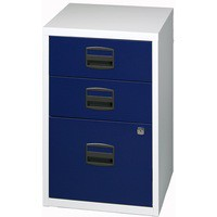 Bisley A4 Homefiler 3 Drawer Lockable Grey/Blue PFA3-8748