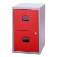 Bisley A4 Homefiler 2 Drawer Lockable Grey/Red PFA2-8794