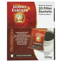Douwe Egberts Filter Coffee Sachet 60gm Pack of 20 with Filters A05592