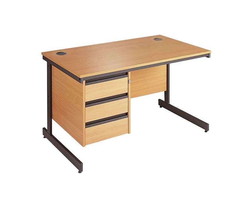 Straight C frame desk - 3 drawer fixed pedestal