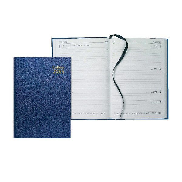 Collins A5 Desk Diary Week To View 2015 Blue