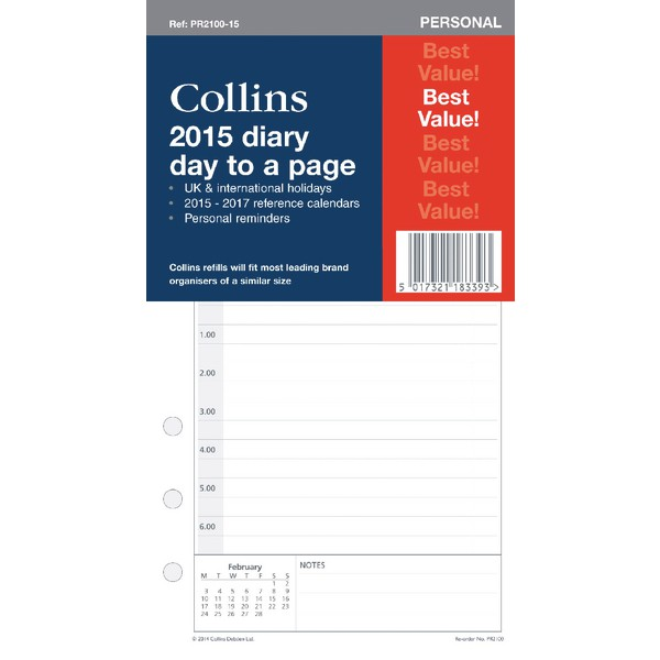Collins Personal 2016 Diary Day Per Page Organiser Refill PR2100