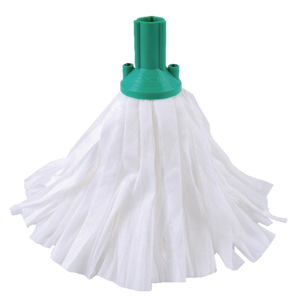Contico Standard Big White Exel Mop Green Pack of 10 PSGN1210P