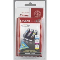 Canon Pixma iP3600/4600/MP540/620/980 Inkjet Cartridge Value Pack 9ml CMY CLI-521CMY