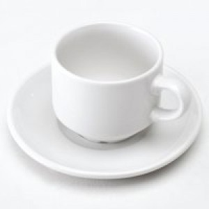 Cup and Saucer Pk 6 White KDSWCS