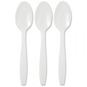 Plastic Dessert Spoon White Pack of 100