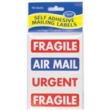 County Mailing Label Fragile/Air Mail Pack of 12