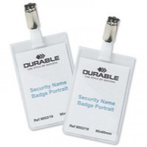 Durable Name Badges Security with Rotating Clip 90x60mm Ref 8002 [Pack 25]