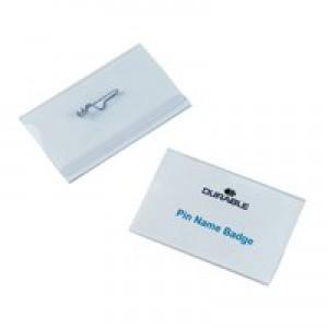 Durable Name Badge 54x90mm Pin Fastener Pack of 50 8004