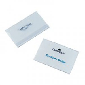Durable Name Badge 40x75mm Pin Fastener Pack of 100 8008