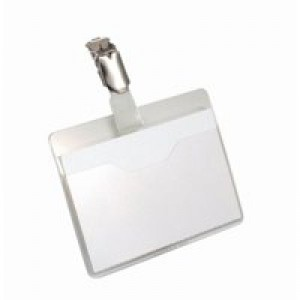 Durable Name Badge 60x90mm Clip On Landscape Pack of 25 8106
