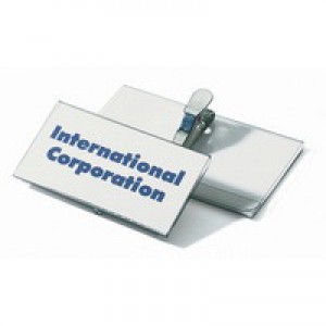 Durable Name Badges with Crocodile Clip 40x75mm Ref 8110 [Pack 25]