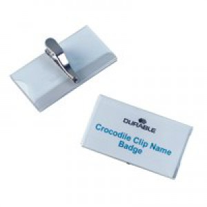 Durable Name Badge 55x90mm Crocodile Clip Fastener Pack of 25 8111