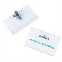 Durable Name Badge 54x90mm Combi Clip Fastener Pack of 50 8145/19