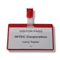Durable Visitor Name Badge 60x90mm Red Pack of 25 8147/03